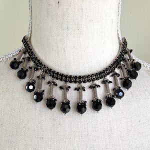 Black Rhinestone Faceted Crystal Chocker Necklace